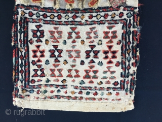 Shahsavan baby chanteh/khorjin. Cm 26x53. Late 19/early20th century. Worn, torn……..beautiful. sumack embroidery, great colors.
