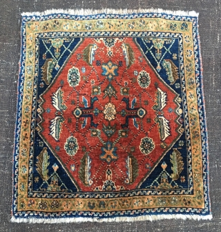 Prisoner's rug? Play the numbers! Qashqai full pile khorjin bag face. Cm 60x64 ca.. Early 20th c if not earlier. Beautiful, proportioned, interesting. Natural dyes. In good condition. The numbering on the  ...