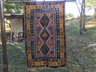 Yayhali Kilim. Central Anatolia. Cm 117x183. Great natural colors. 3 medallion pattern. Front shows some color weakness due to 100/120 years of direct light. But, since the back side shows no lazy  ...