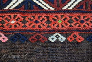 Yagcibedir Cuval pair from Western Anatolia, Turkey. Probably early 1900, in mint condition. Cm 66x103 ca. each. Wool brocading on goat hair. Woven by nomads in the Bergama area. Beautiful, antique, natural  ...