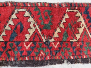 "One more fantastic color ""Salorish"" Ersari main rug fragment. Size is cm 35x180. Early 19th c."
