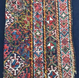 Shahsavan sumack khorhin bag face. Cm 60x60 ca. Late 19th c. Very interesting piece. Needs some restoration.