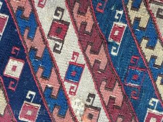 Shahsavan sumack mafrash panel. Cm 31x47. 3rd/4th q 19th c. Small, rare, beautiful, intriguing sumack mafrash panel. Deep, great saturated colors. A small jewel.