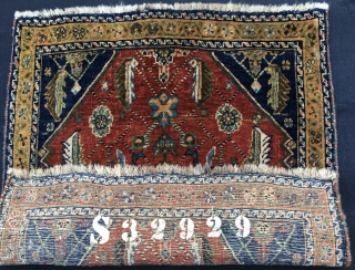 Qashqai full pile khorjin bag face. Cm 60x64. Early 20th c if not earlier. Beautiful, proportioned, interesting. Natural dyes. In good condition. The numbering on the back might be either the cataloging  ...