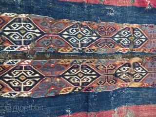It was a real barn find....about 40 years ago..... 1840/1860 East Anatolian cuval/storage bag. Complete, end to end, despite tears, holes, etc. Fantastic colors. In need of caring and mounting. A real tribal  ...