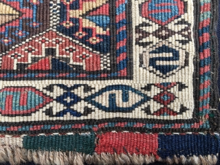 Shahsavan reverse sumack khorjin bag face. Cm 46x51 or in 18x20 ca. Datable 1870/1880. Beautiful, bold pattern, tight weave, lovely, natural, saturated dyes. Some fuchsine confirms dating. Fuchsine was discovered in 1858  ...