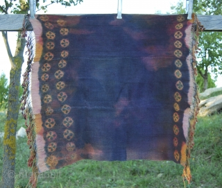 Two Tibetan yak wool tie & dye shawls from Southern Tibet and/or Zanskar.  Yak wool, natural colors, approx age is early 20th century. Cm 85x75 ca. each. In Tibet the Tigma or cross  ...