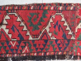 """Salorish"" Ersari main rug fragment. Size is cm 35x180. Early 19th c. Spectacular colors."