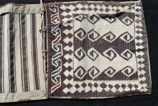 Shahsavan Modern Art. - Shahsavan Moghan khorjin. Cm 42x120 ca. Early 20th century, or? Wool & cotton. Positive/negative dragon. simple, abstract, very minimalistic design. Except for two tiny stains, it's in wonderful  ...