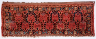 Excellent Turkmen Beshir Trapping  Rare and Beautiful poppy flower (or cat faces) design   Very good condition, long soft pile, all natural dyes  4ft 3inch X 1ft 7inch (130 cm x 48 cm)