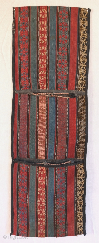 Shahsavan Khorjin made of a single strip of jajim. Acquired in Baku. Complete, shows signs of use, few weak spots, reinforced edges. May need a good bath.  100 x 31 cm, 3ft  ...