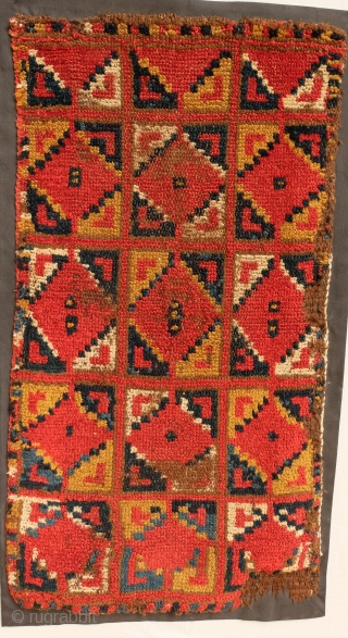 Colorful Uzbek Yastik Dimensions: 78 x 44 cm Condition: Complete, Mostly good pile, some edge damage, backed with black fabric.