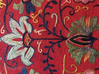 19.th.century Uzbek Lakai mirror bag.size,54x50 cm.silk embroidered on wool .