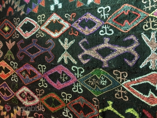 Early 20th.century wool on wool Uzbek   Kungrad embroidery.probably attached tent bands together.size,100x50 cm