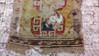 18thc Yellow ground Cappadocia rug fragment size=100x90 cm