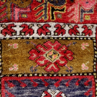 Antique Anatolian prayer rug, 164x94cm, joyful colours, very good condition, full pile, the dark brown a bit corroded, handwashed gently, waiting to share it's cheerful vibes with you.
