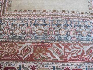 Bandirma Prayer rug ,circa 1900 , plenty cotton ,some corrosive green . Good condition . 137-187 cm