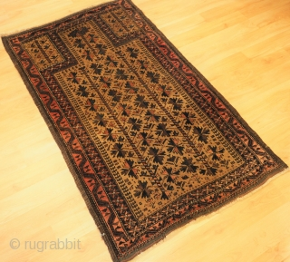 Antique Baluch camel ground prayer rug with 'tree of life' design. www.knightsantiques.co.uk  Size: 4ft 7in x 2ft 9in (140 x 84cm).  Circa 1900.   The rug is beautifully drawn and has excellent colour,  ...