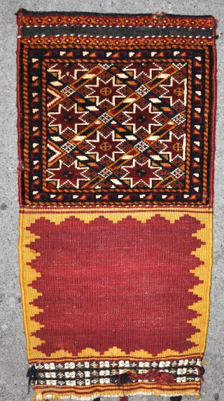 A fine old Qasgai bag, complete with pretty back, with good dyes, in excellent original condition. About 30cm square (face) Freindly price!