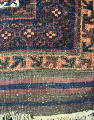 An antique Baluch prayer rug with shiny wool and good dyes in excelent condition, just  very slight local wear in one small area and some wear to one selvage. 160 x  ...