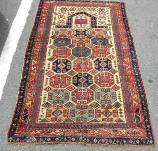 Very fine antique Moghan prayer rug with good dyes and well executed design. Circa 1875