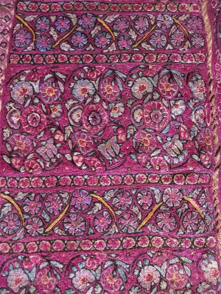 "Rather intense Persian silk embroidery fragment of advanced age, w/ saturated color and dense threadwork. 9"" x 20"". At least 19th C, maybe earlier?  Don't know. Not sure what it was  ..."
