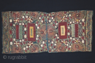 Edges of a towel ( peshkir ), silk embroidery on indigo dye cotton, Turkey, XVIII century. 33,5 X 74 cm