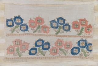 Otoman embroidery, silk on silk, XVIII century, good condition with fresh colors, 48 X 74 cm