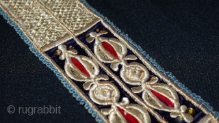 Uzbek dress collar (Peskurta), Bukharan, 19th century with gold plated and silk embroidery. The backing has printed cotton. Good condition.