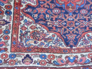 Persian Hamadan, early 20th century, 3-8 x 6-2 (1.12 x 1.88), very good condition, Kurdish, full pile, rug was hand washed, original edges, original ends - one end braided selvage and the  ...