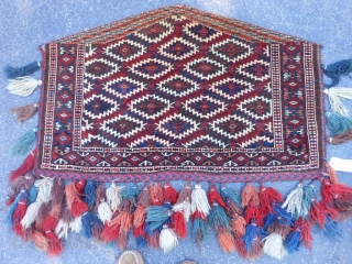 Turkman Teke Asmalyk, early 20th century, 2-4 x 3-7 (.71 x 1.09), very good condition, full pile, fine weave, most of the tassels, rug is clean, plus shipping.