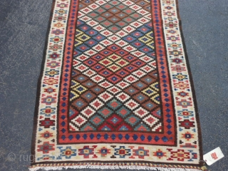 Persian Saveh Kilim, early 20th century, 3-3 x 13-4 (.99 x 4.06), very good condition, rug is clean, closed dovetail tapestry weave, strong and tight, reversible, plus shipping.