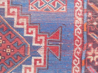 Caucasian Kazak, circa 1900, 4-4 x 8-8 (1.32 x 2.64), browns oxidized, synthetic and natural dyes, rug was washed, original ends and edges, one end original braiding, few moth bites, good pile,  ...