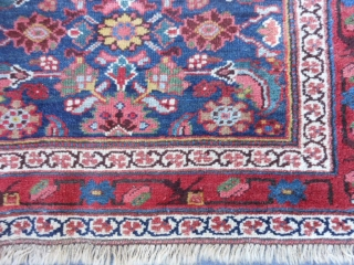Persian Kurdish Runner, late 19th century, 3-4 x 12-0 (1.02 x 3.66), browns oxidized, rug was washed, decent pile - some wear, ends overcast, abrash main border, good colors, plus shipping.