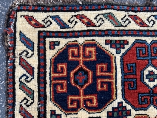Persian Shah Savan bag face,  late 19th century,  1-5 x 1-7 (43 x 48),  good pile,  lower right side cord loose and separating,  rug was hand washed,  ...