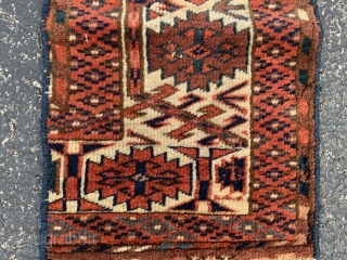 """Teke main carpet fragment, late 19th century,  10"""" x 1-6 (25 x 46),  good pile, rug was hand washed, plus shipping."""