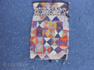 """Uzbek Purse/Bag, early 20th century, 5"""" x 8"""" (.13 x .20), each side different, cotton, silk, some fading and dye run, plus shipping."""