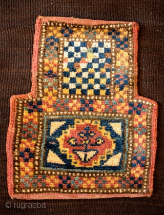 Lori Salt Bag, 4th quarter of the 19th Century. Silky wool in full pile.  Unusual checkerboard pattern.  An absolutely loveable and unique piece.  25.5 x 31 cm from top  ...