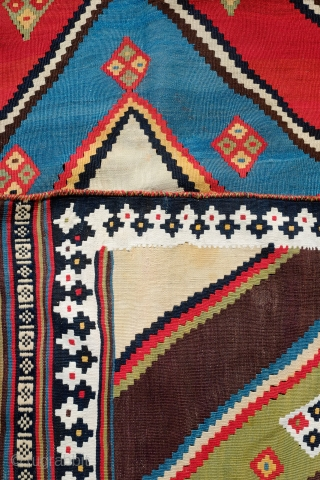 Qashqa'i Kilim, Late 19th Century.  Incredible saturated colors.  Fine texture.  A small area of finely done repair in one of the yellow sections depicted in the 6th image.   ...
