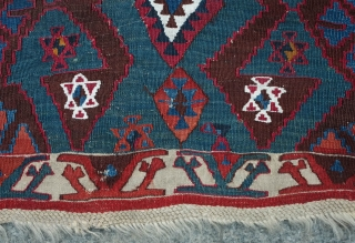 Malatya Kilim, 19th Century.  Deep, rich colors. Very saturated.  It has a couple of small holes and a stain on the top section but otherwise in good condition for its  ...