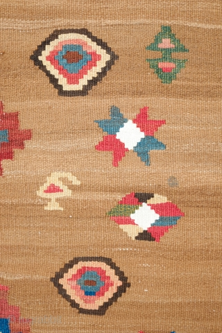 South Azerbaijan Kilim, Late 19th Century.  Camel wool field surrounded by white border with striking colorful medallions.  Excellent colors.  It has a couple of stains, one on the upper  ...