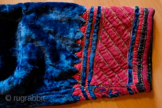 Turkmen Blue Velvet Chapan, Late 19th or Early 20th Century.  Fabulous electric blue velvet with silk trimmings.  In very nice condition. 130 cm from sleeve end to sleeve end and  ...