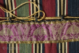 Shahsavan Silk Heybe, Late 19th Century.  Wonderful silk brocade sections on the tops of the bag between the bridge>  Very fine metalic thread tassels and selvedge.  Great attention to  ...