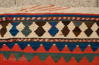 Anguran Iran Kilim, Zanjan area. Early 20th Century. The date reads around 1908.  Wonderful pole medallion design.  Some chemical colors in the small detail areas. 202 x 448 cm.