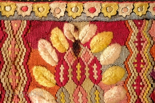 Hungarian silk embroidered apron, Early 20th Century. Silk embroidery on a cotton back with fine braided black silk tassels.  There is a stain on one of the floral sections.  Wonderful  ...