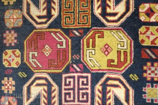 Lenkoran Rug, 1860s. Ths rug is a blitz of bursting colors. There is quite a bit of soft cochineal. The pastel green is striking. All the colors are natural testifying to the  ...