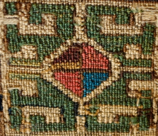 Moghan Shahsavan bag face, Mid 19th Century.  Good natural colors.  Great abstracted cloud band medallions in archaic form.  34 x 39 cm.