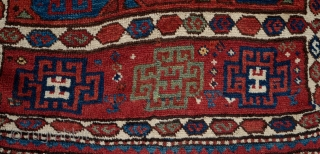 Shavak Kurdish Long Rug, Late 19th Century.  Great pile and strong design elements and all good colors.   101 x 342 cm