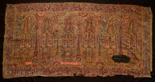Kashmir Long Shawl End Panel, Fourth quarter of the 18th Century.  Has very good age. Extremely fine weaving, maybe of the finest group. It has a few small holes.  Still  ...