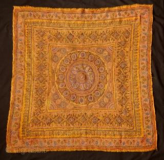 Kerman embroidery, 19th Century.  Apricot wool ground cloth.  Intricate workmanship.  90 x 90 cm.